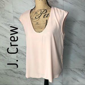 J. Crew Peach Cap-Sleeve Shirttail Blouse Size 10